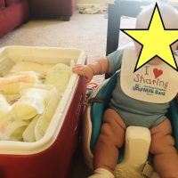 Donating deep freezer frozen breast milk to needy baby